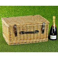 Empty Wicker Hamper Basket, Lidded (Dark Leather 20