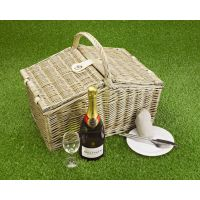 Empty Picnic Basket, Double-Lid Hamper (4-Person)