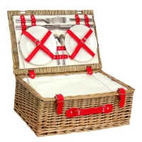 Fitted Picnic Basket, Red Cool Hamper (4-Person)