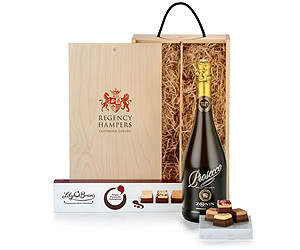 Prosecco & Chocolates in Wooden Box