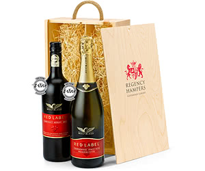 Wolf Blass Red & Sparkling Duo in Wooden Gift Box