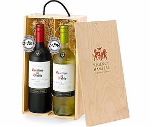 Casillero del Diablo Red & White Duo in Wooden Gift Box