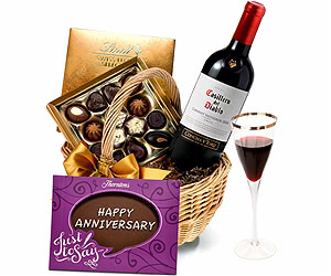 Anniversary Red Wine & Chocolate Hamper