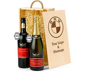 Wolf Blass Red & Sparkling Duo in Bespoke Branded Wooden Box