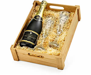 """LOVE"" Champagne & Engraved Flutes in Wooden Crate"