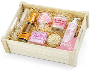 Prosecco Pampering Gift Set in Wooden Crate