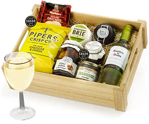 White Wine Ploughman's Choice with Casillero in Wooden Crate