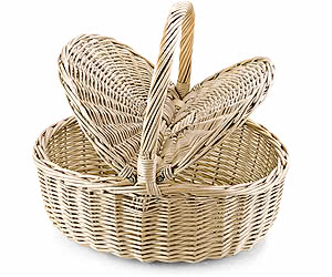 Empty Picnic Basket, Twin Hamper Style (Oval)