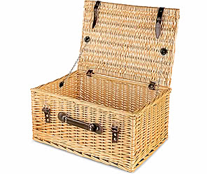 "Empty Wicker Hamper Basket, Lidded (Dark Leather 20"")"