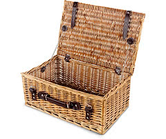 "Empty Wicker Hamper Basket, Lidded (Bronzed 18"")"