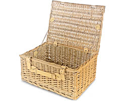 Empty Wicker Hamper Basket, Lidded (Large)