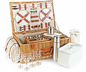 Luxury Fitted Picnic Hamper Basket, 4-Person