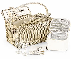 Fitted Picnic Basket, Two-Bottle Folding Hamper