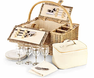 Luxury Picnic Basket, Three-Bottle Folding Hamper 19""