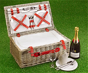 "Fitted Picnic Basket, Red Cool Hamper (4-Person 18"")"