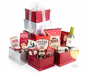 Sweet & Savoury Large Gift Tower with White Wine