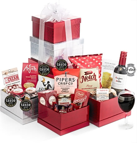 Sweet & Savoury Large Gift Tower with Red Wine
