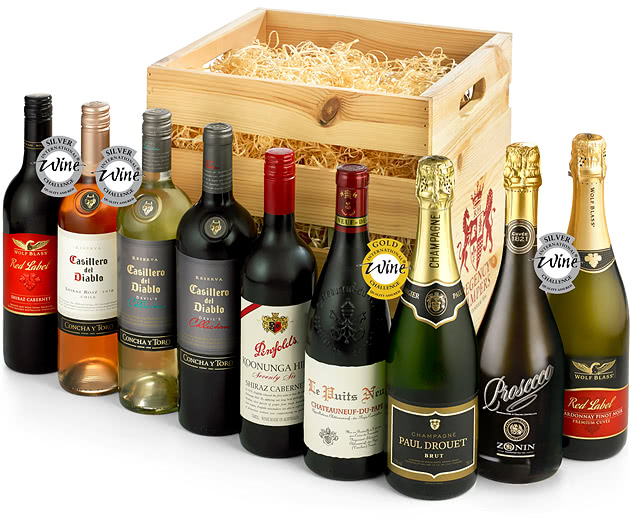 Nine Bottle Premium Wine & Champagne Celebration Crate