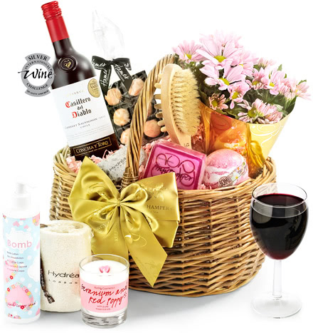 Red Wine & Flowers Luxury Pampering Set in Gift Basket