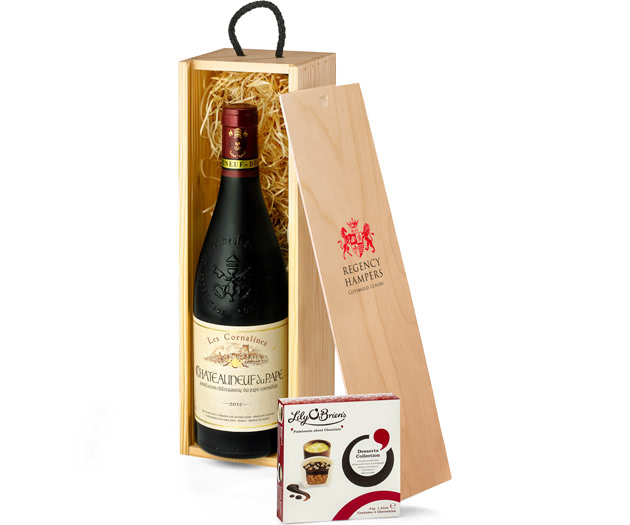Châteauneuf-du-Pape Red Wine with Chocolates in Gift Box