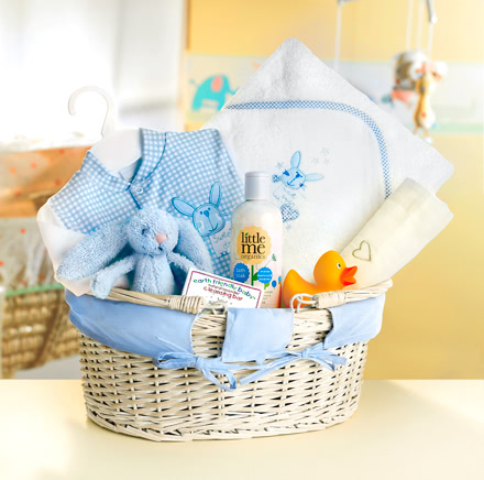 Rub-A-Dub-Dub Blue Baby Bath Time Hamper