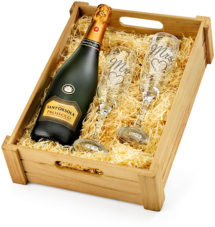 Anniversary Mr & Mrs Prosecco & Engraved Flutes in Wooden Crate