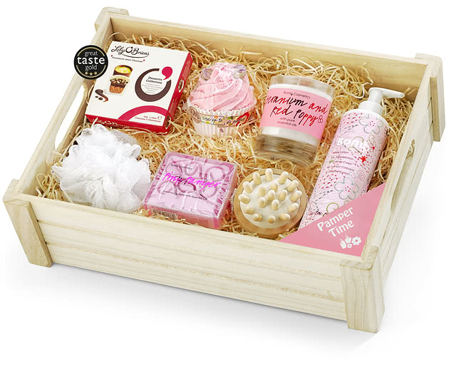 Chocolate Pampering Gift Set in Wooden Crate