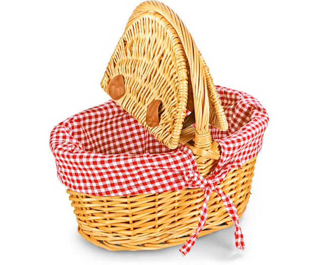 Empty Picnic Basket, Twin Hamper Style (Lined 12