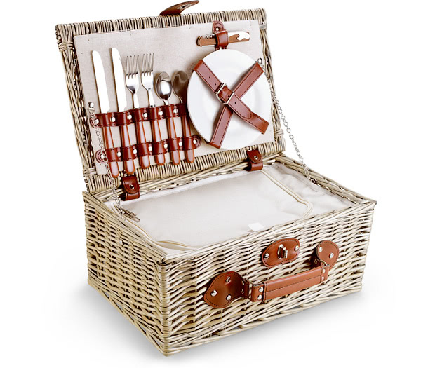 Fitted Picnic Hamper, 2 person, Cream Cool Hamper (16