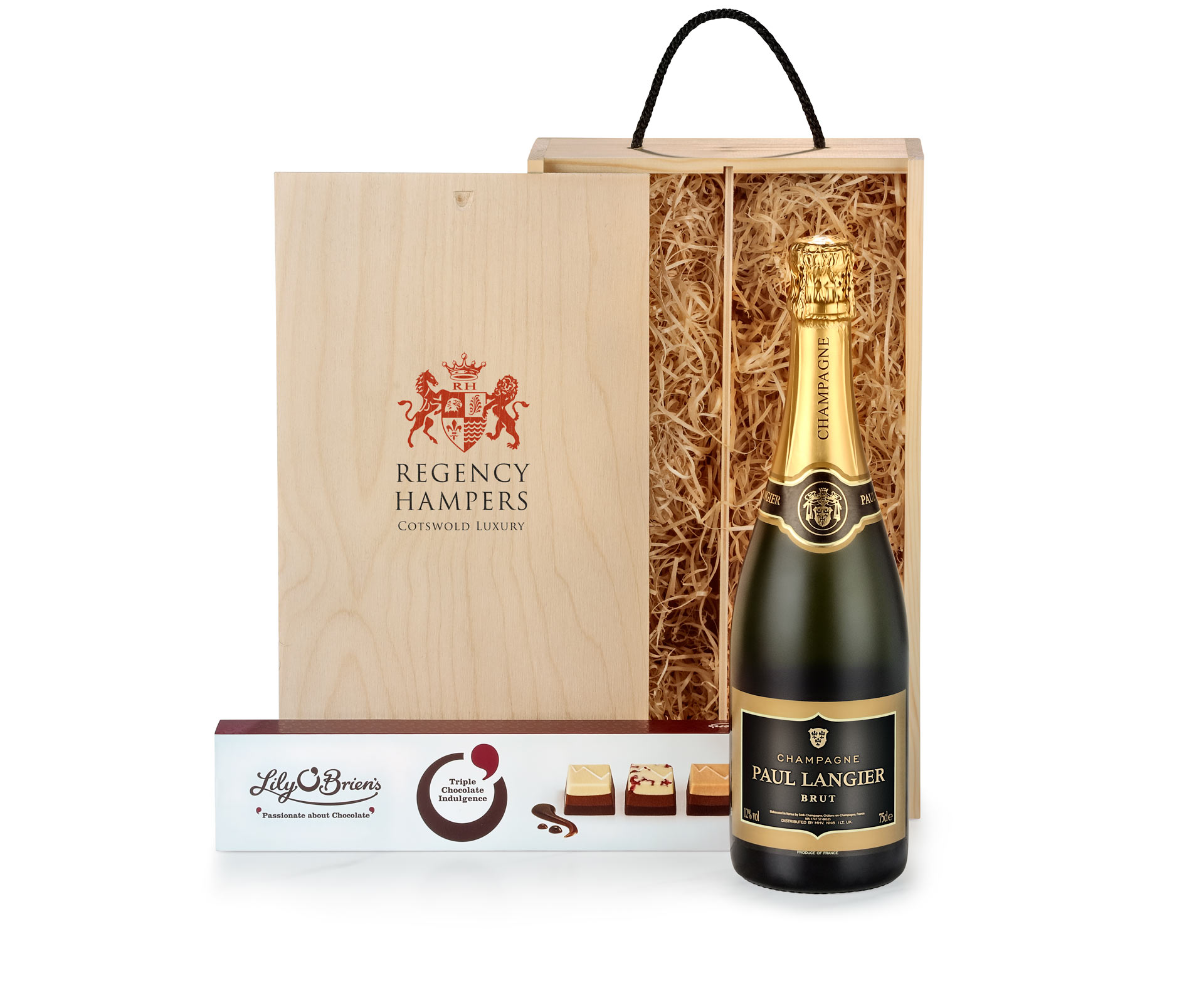 Champagne & Chocolates in Wooden Box