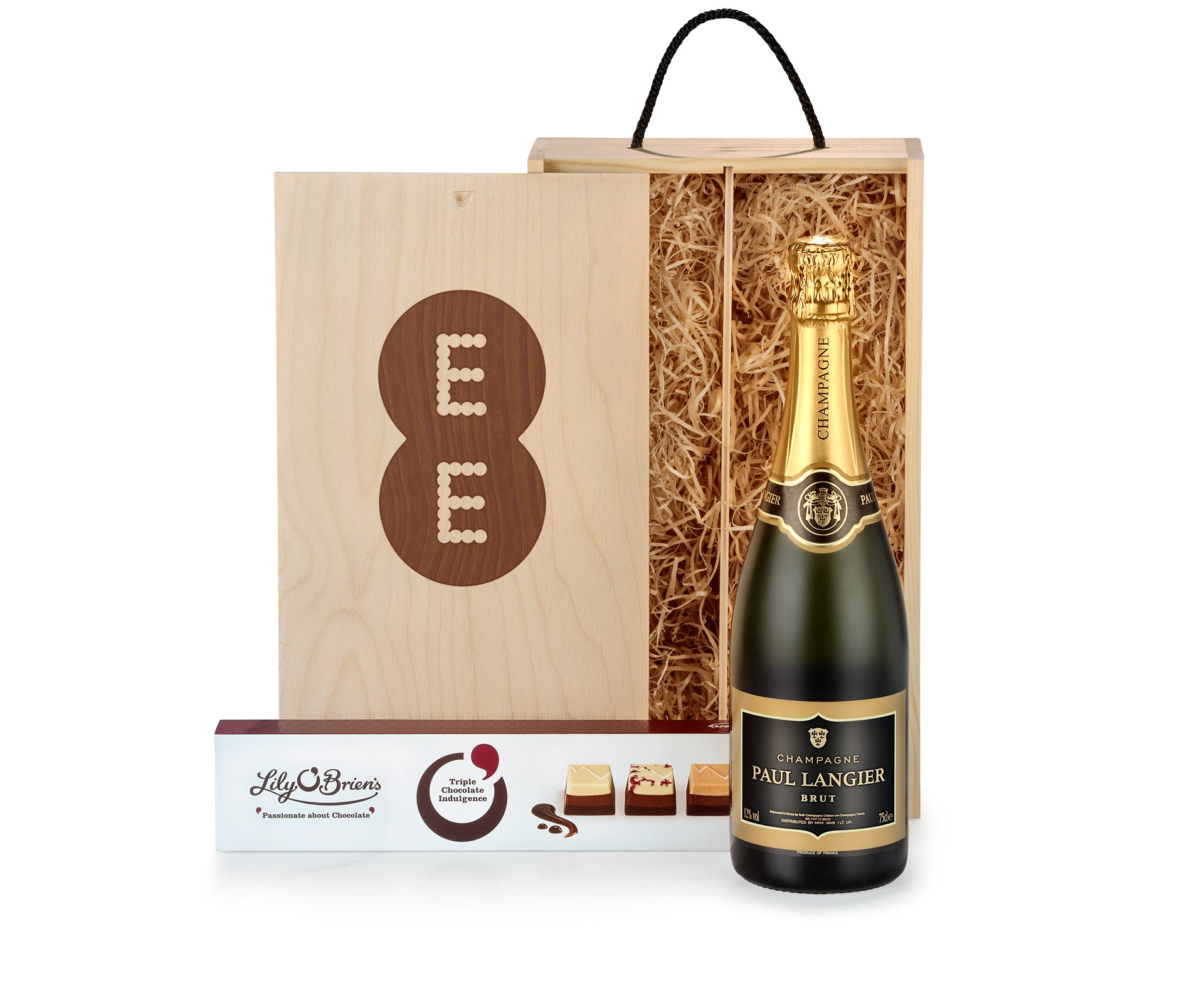 Champagne & Chocolates in Bespoke Branded Wooden Box