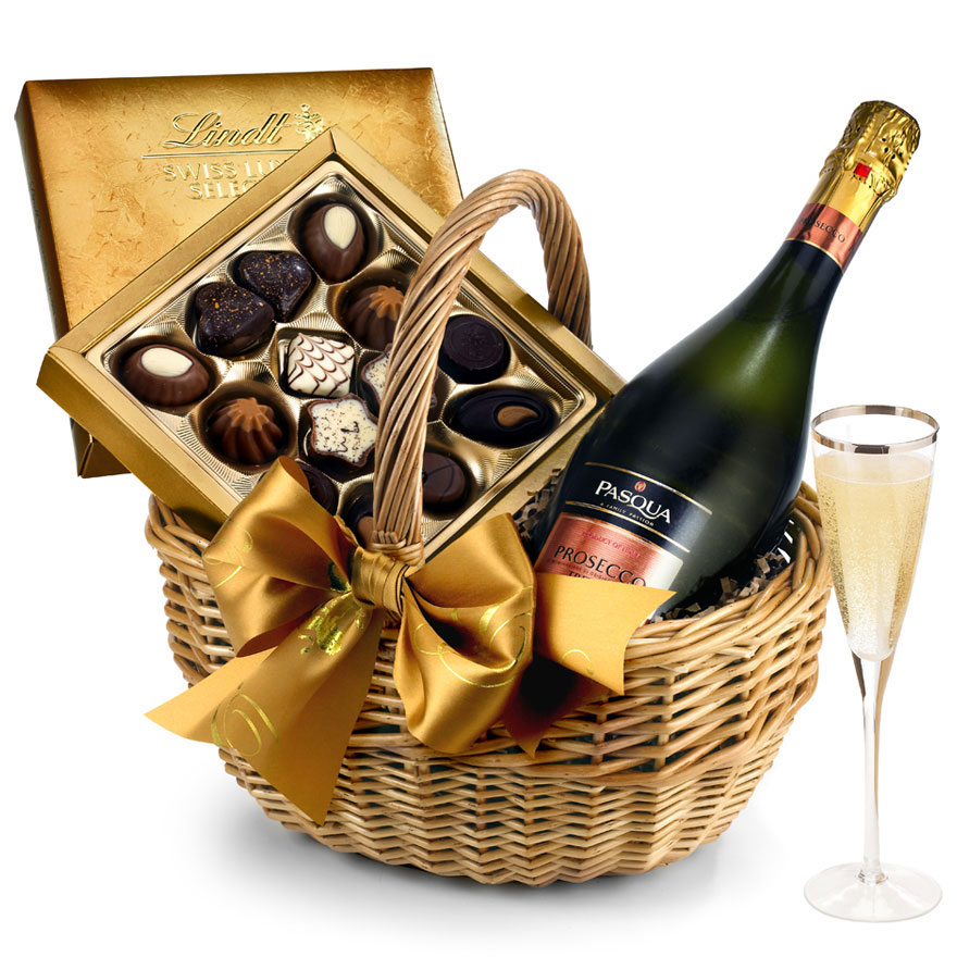 Wine & Chocolates Gift Basket With Prosecco
