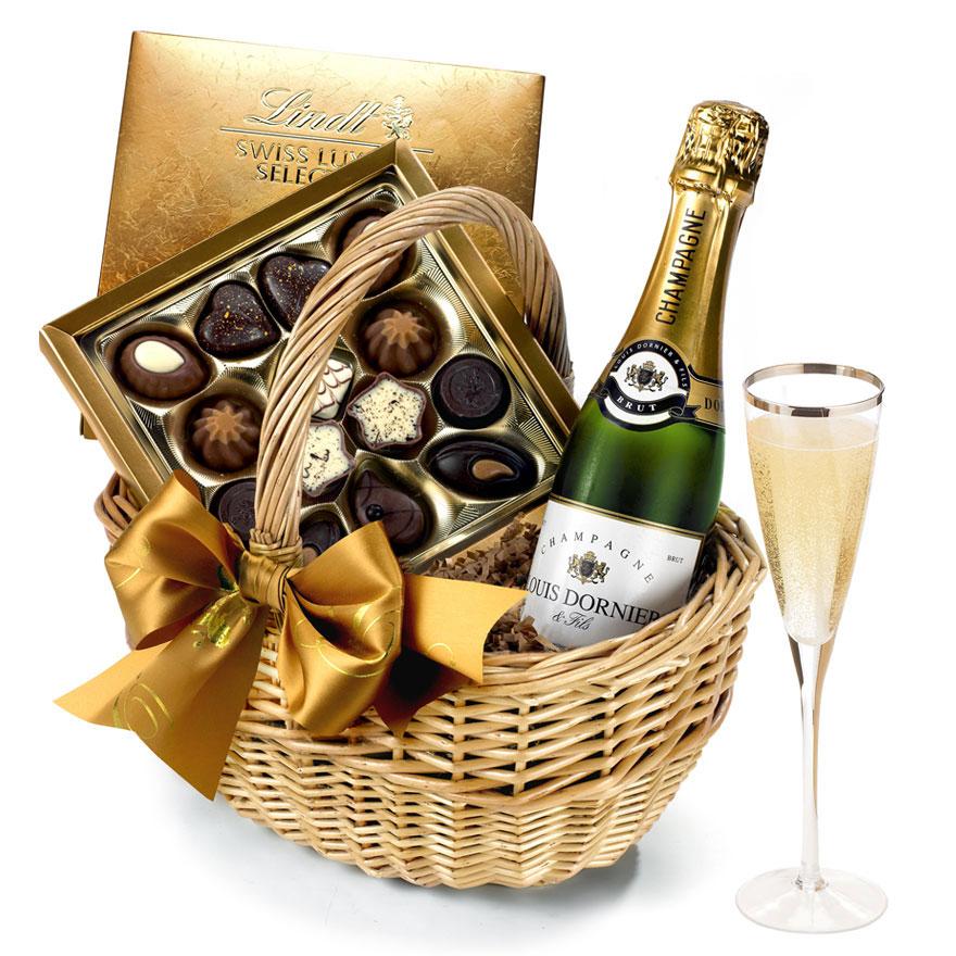 Birthday Wine Chocolates Gift Basket With Champagne