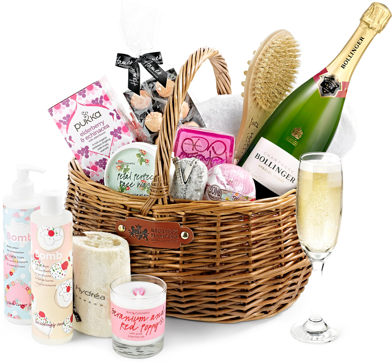 Luxury Pampering Set Gift Basket With Bollinger Champagne
