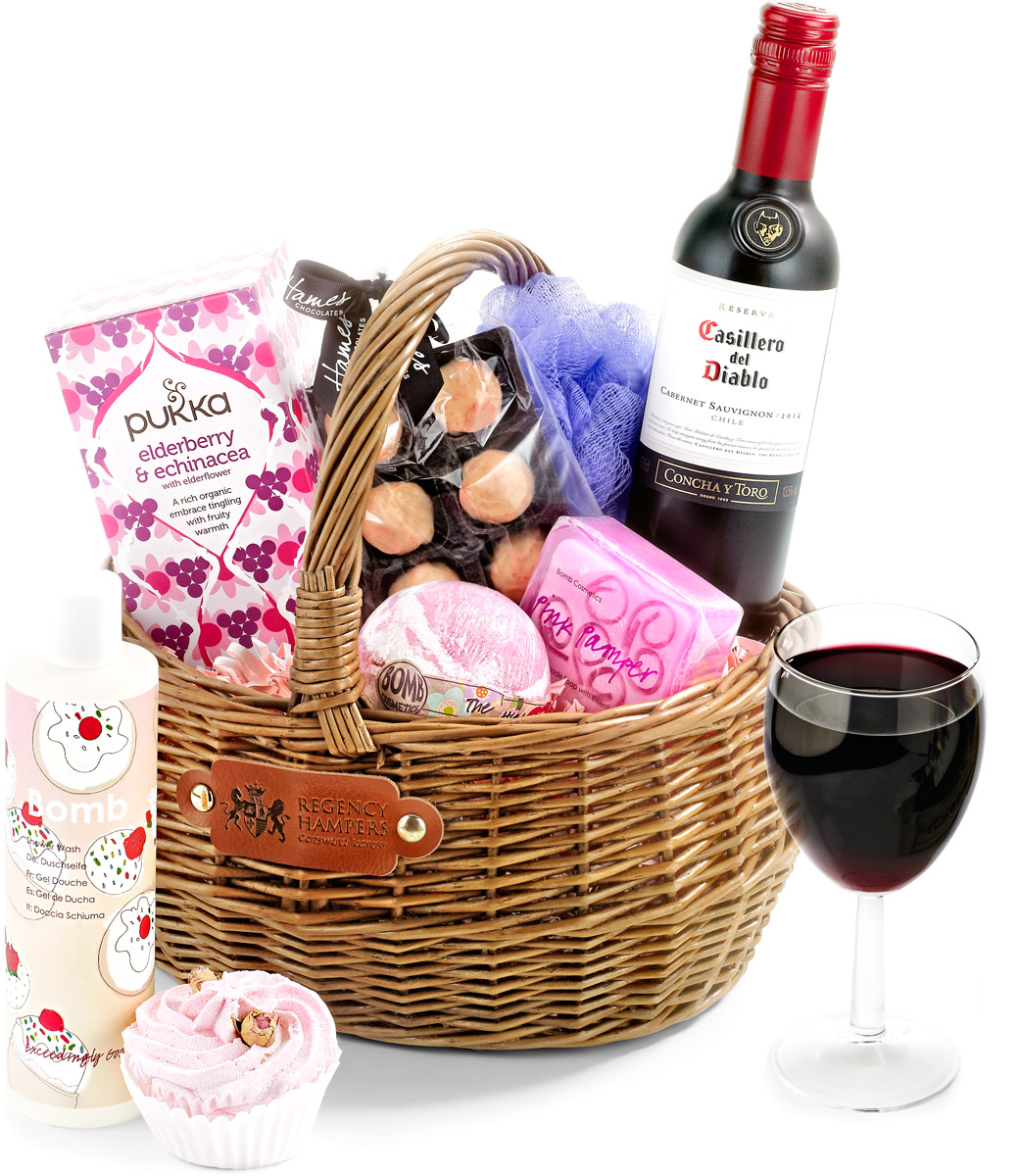 Red Wine Pampering Set in Gift Basket