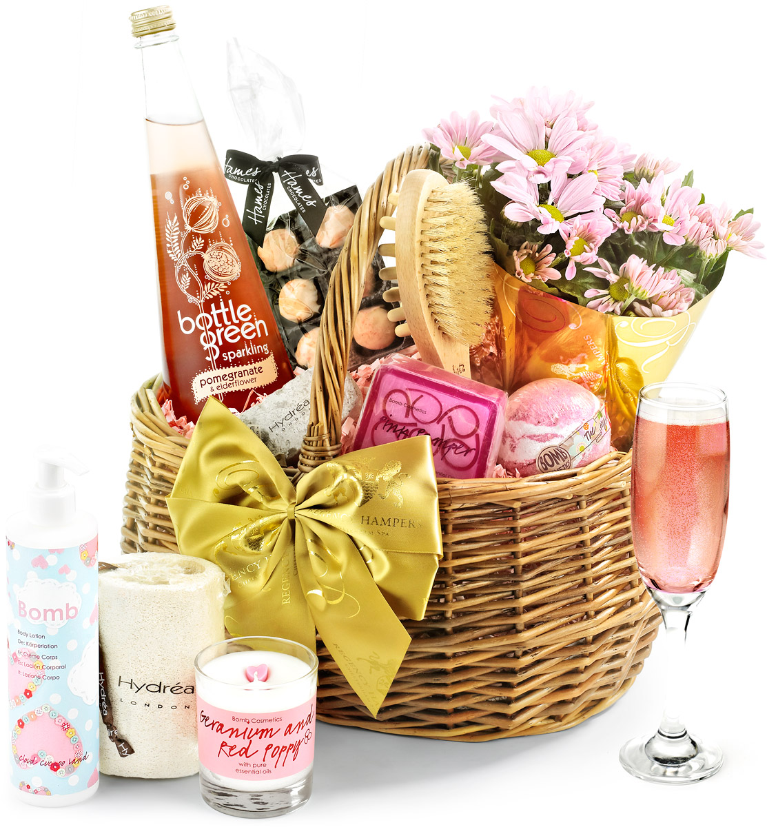 Alcohol-Free & Flowers Luxury Pampering Set in Gift Basket ...