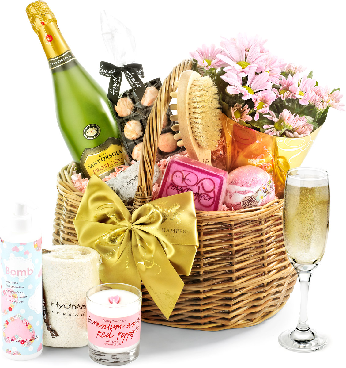 Prosecco & Flowers Luxury Pampering Set in Gift Basket