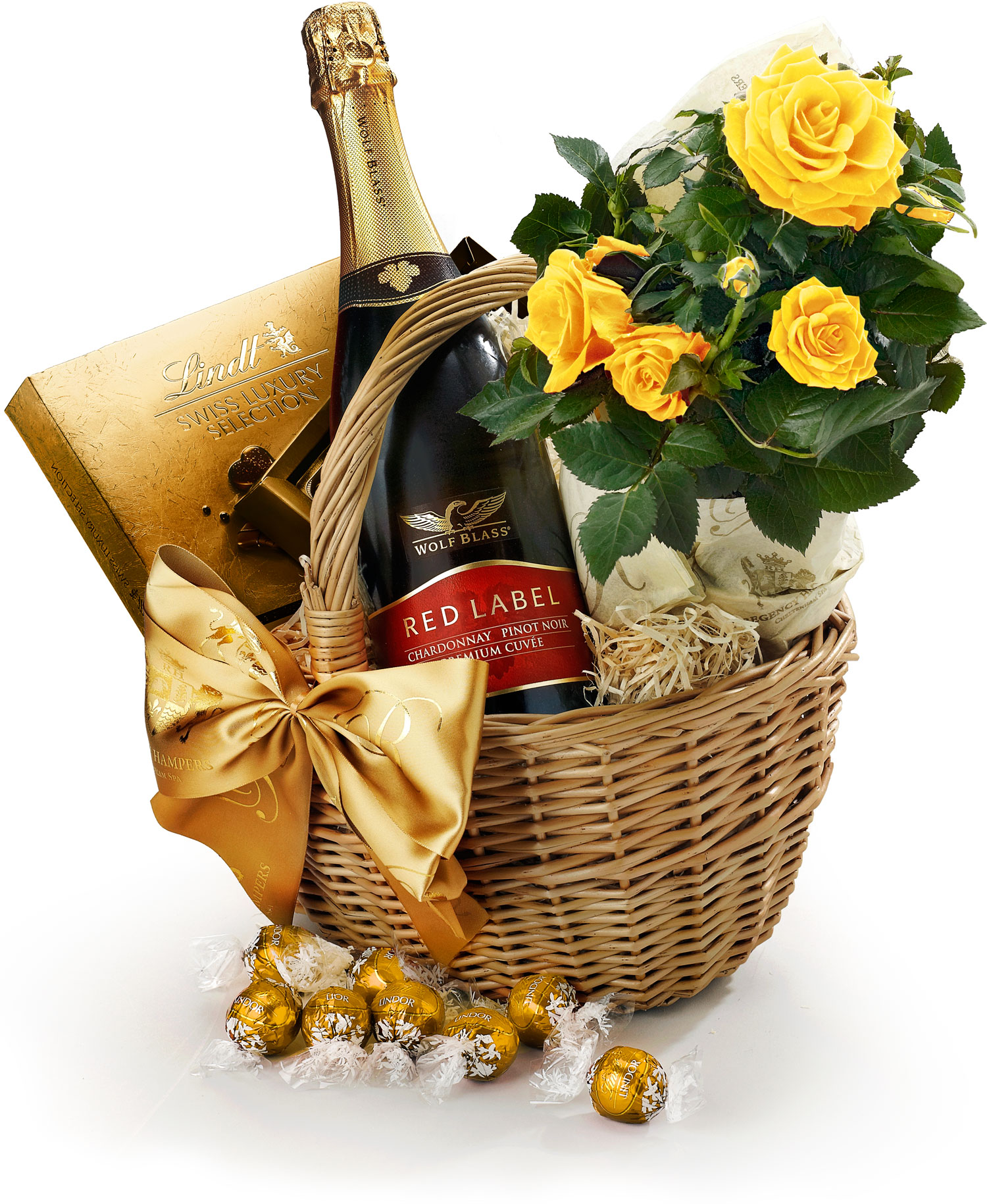 Chocolate Gift Baskets: Roses & Chocolate Gift Basket With Sparkling Wine
