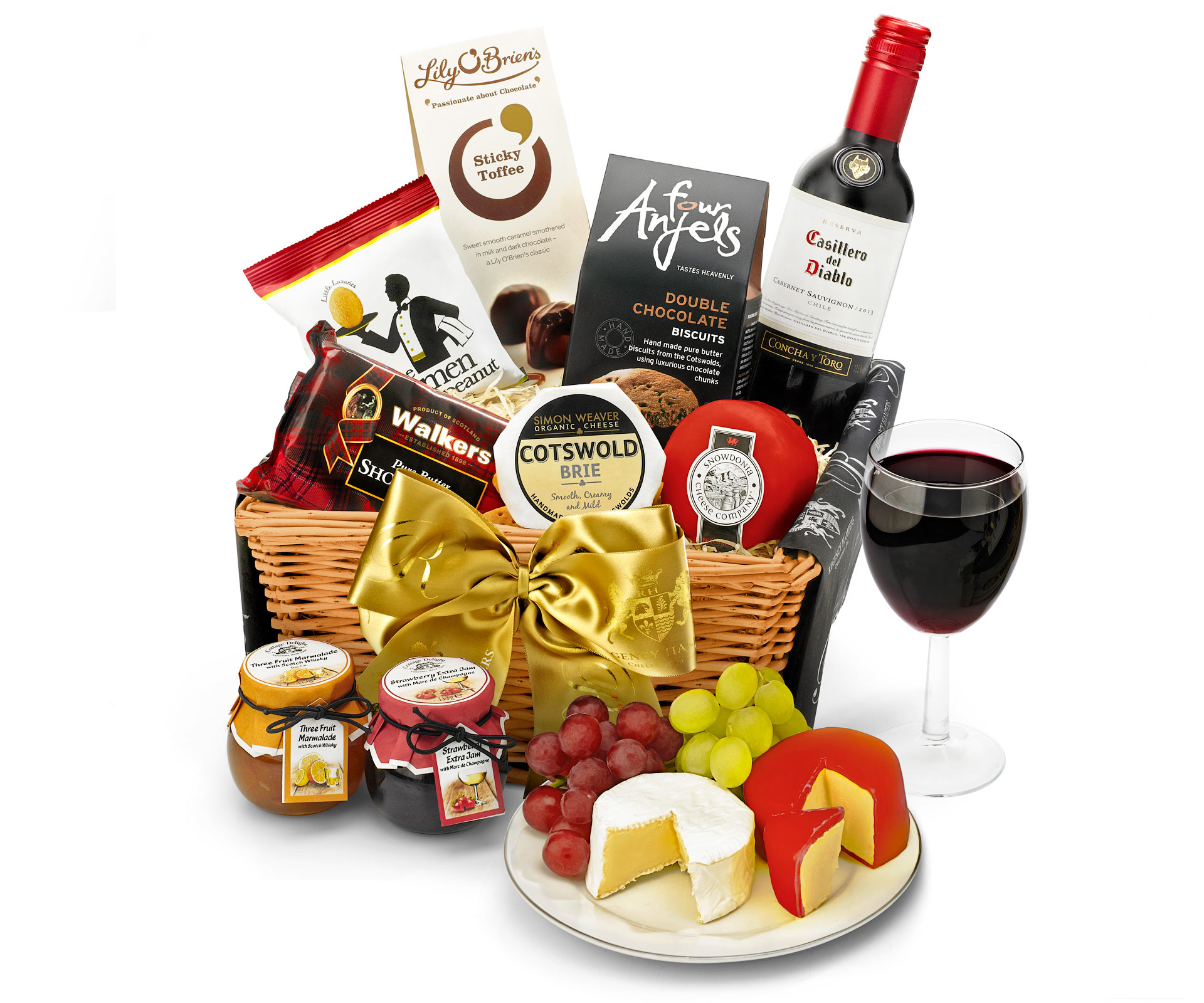 Wedding Gift Hampers Uk: Anniversary & Wedding Downton Hamper With Red Wine