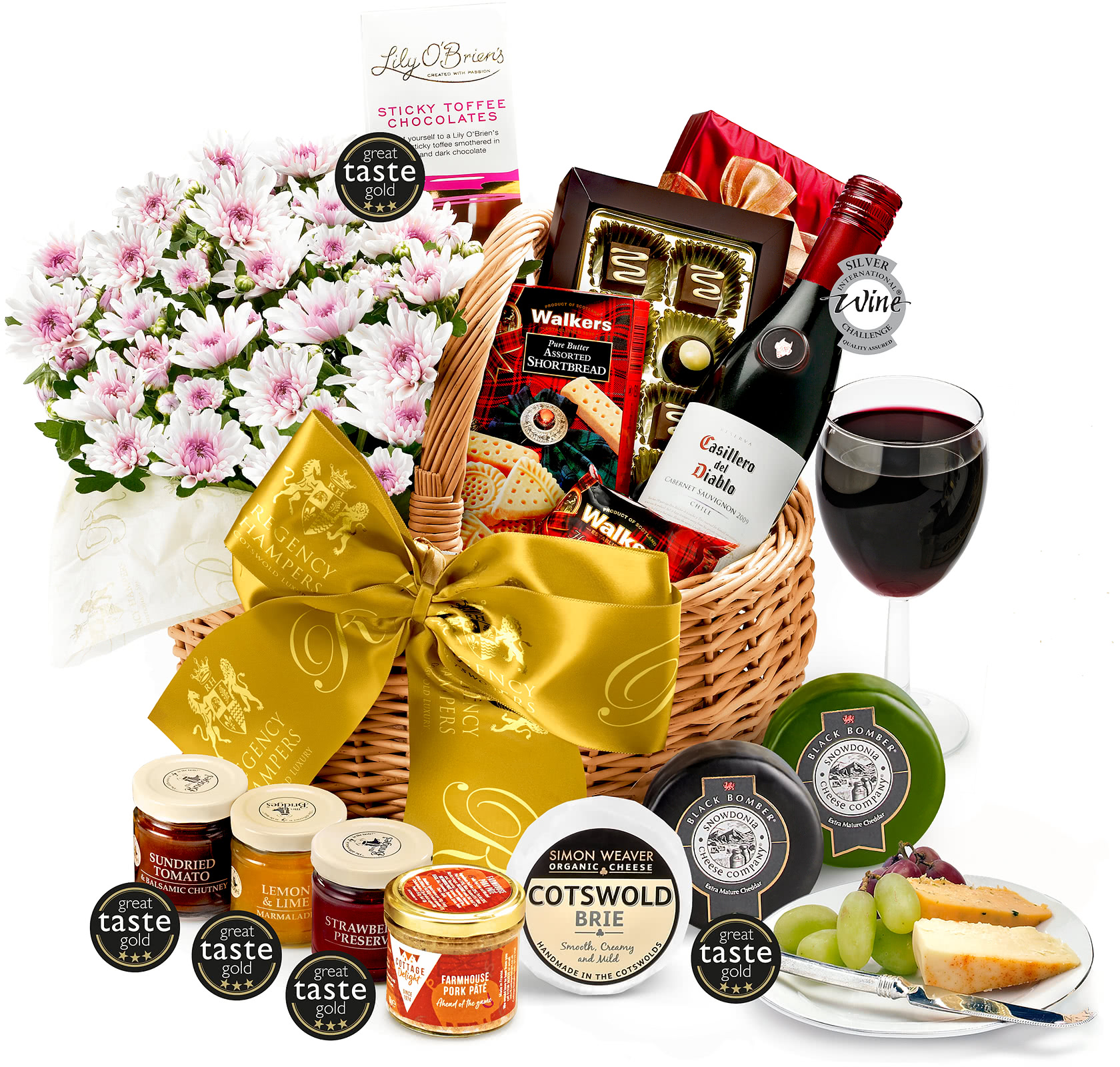 Wedding Gift Hampers Uk: Austen Flower Gift Basket With Red Wine