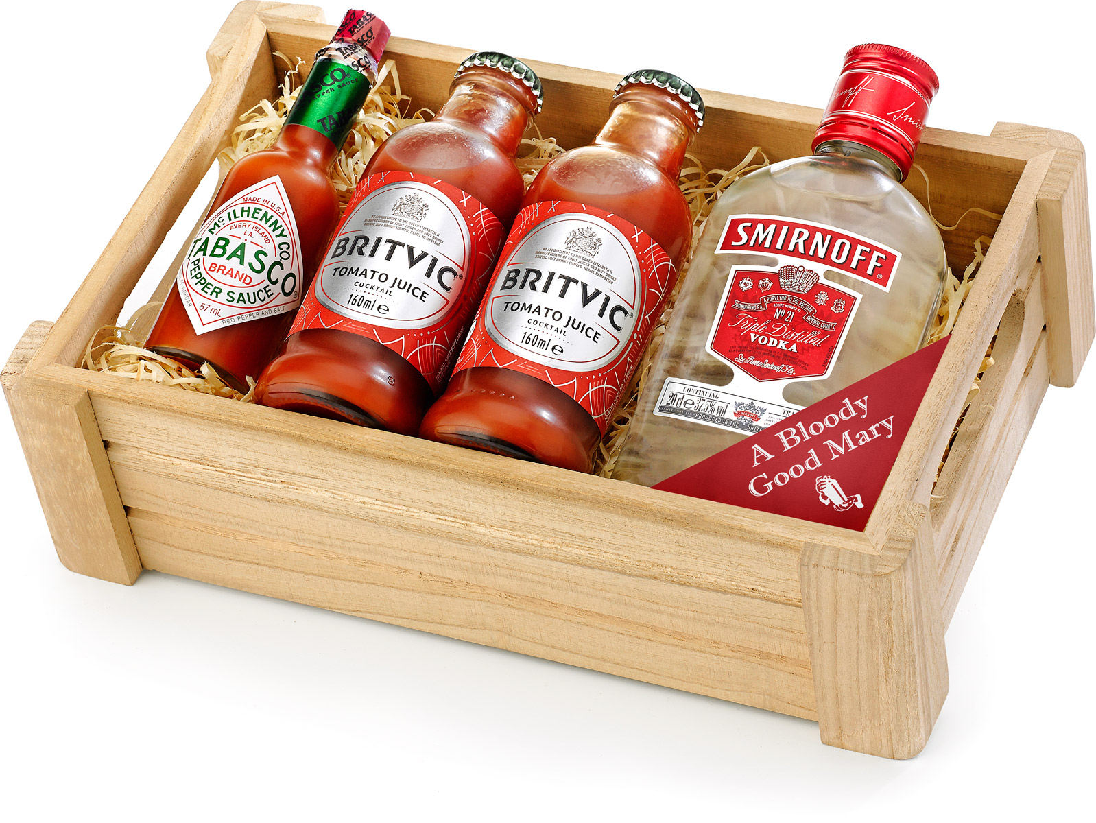Bloody Mary Cocktail Set in Wooden Crate