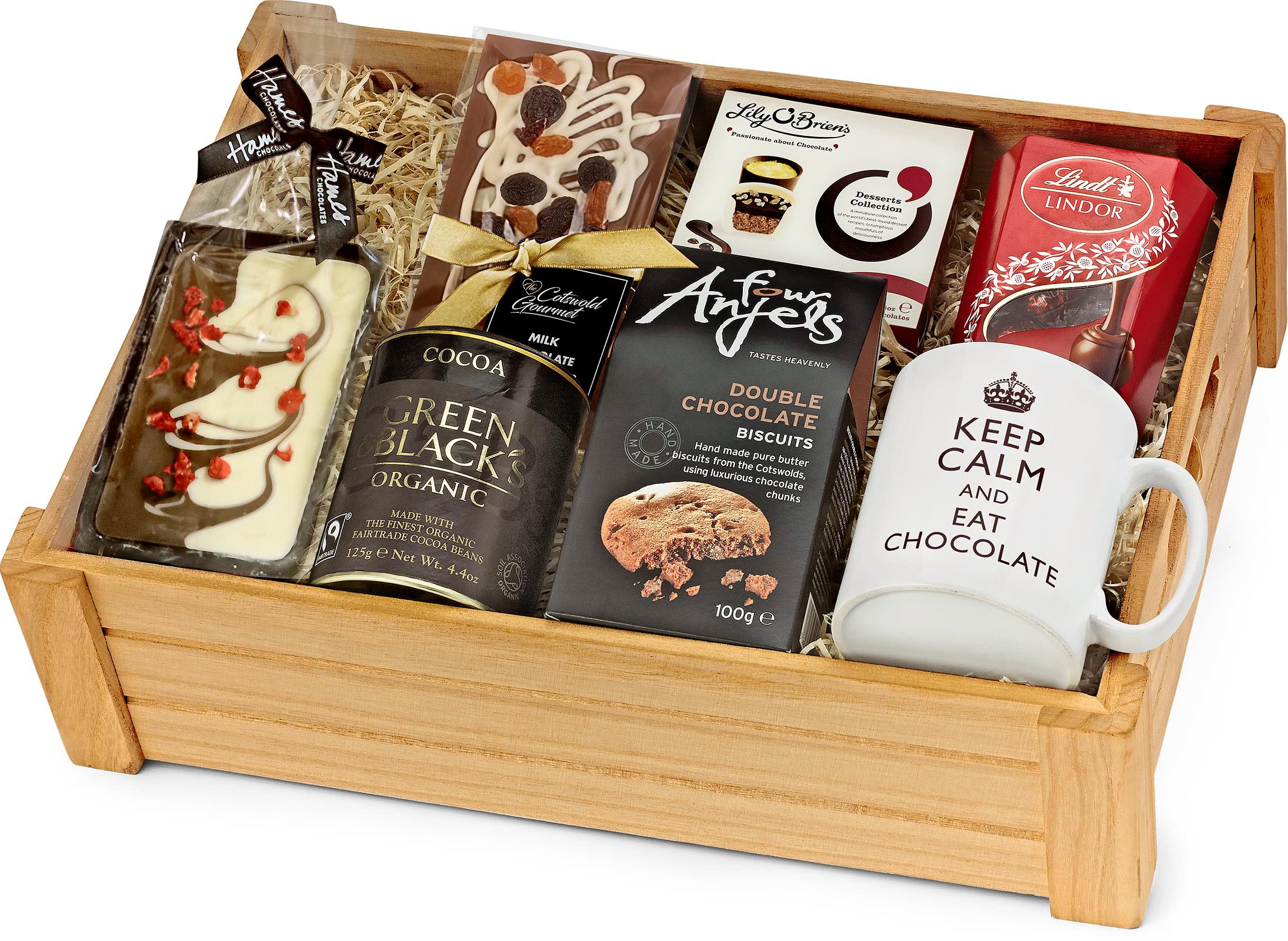 Chocolate Lover S Gift Set In Wooden Crate Regency Hampers