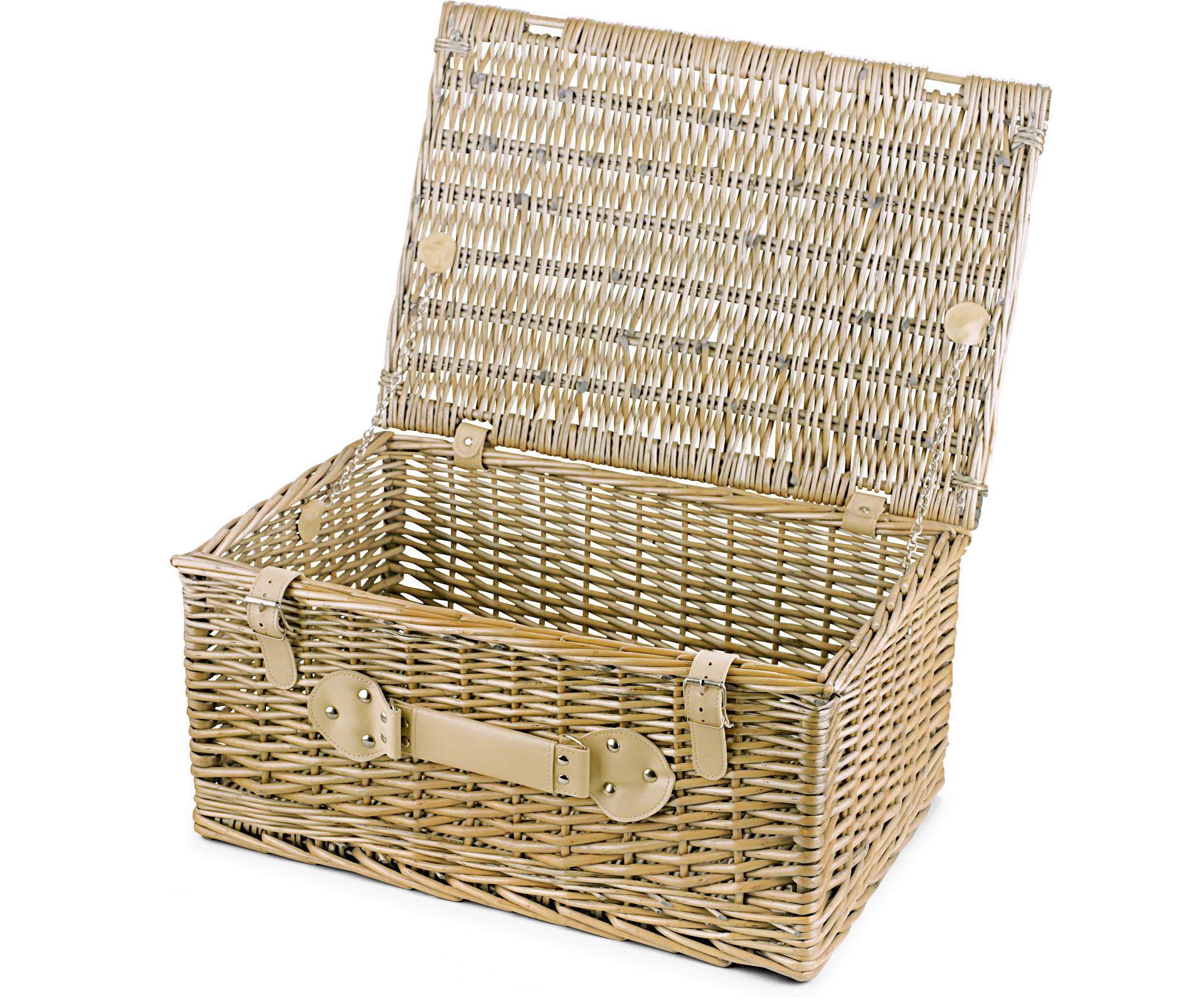 empty wicker hamper basket lidded large