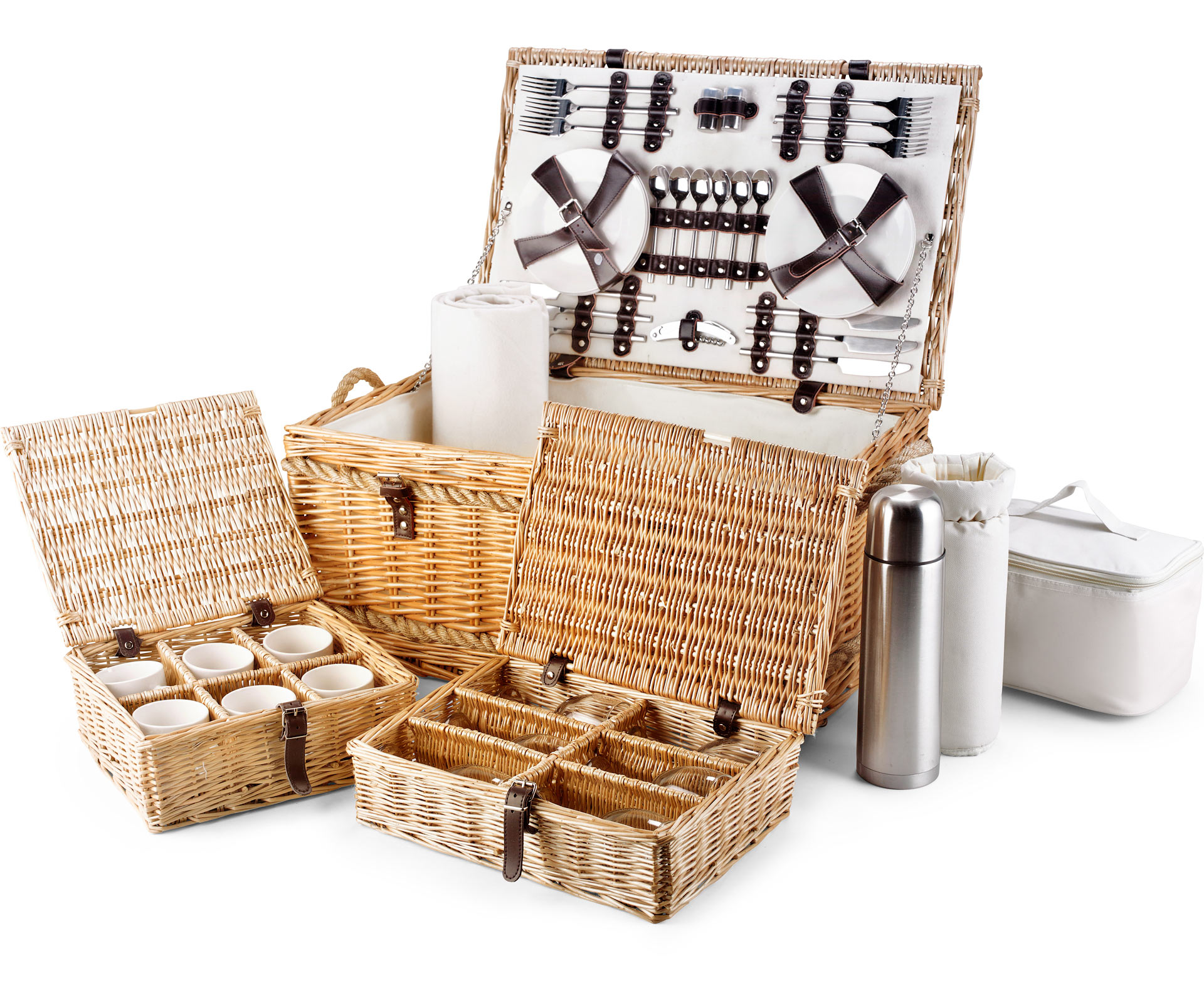 "Luxury Fitted Picnic Hamper Basket, 6 Person (24"")"