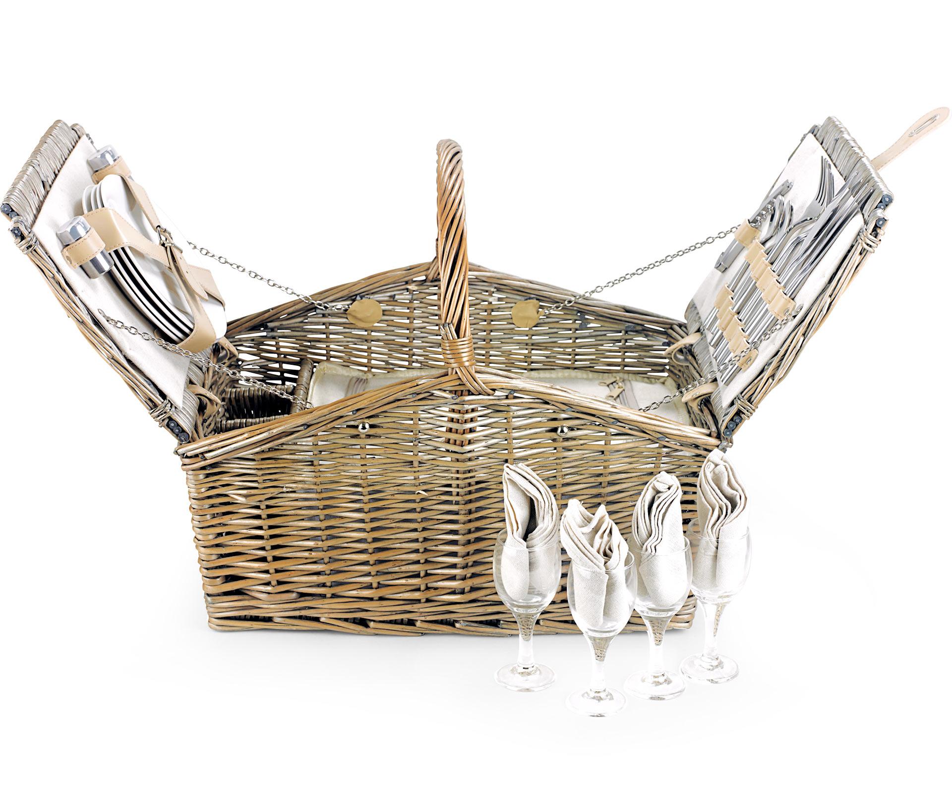 Empty Picnic Basket Double Lid Hamper 4 Person 19